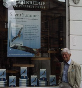 Norman Maclean outside the Cambridge bookstore in the UK.