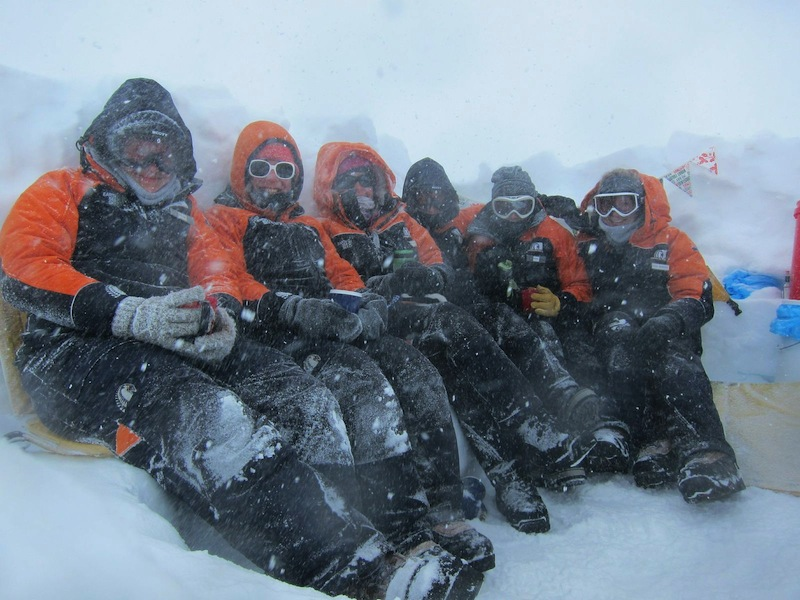 Students from Gateway Antarctica, University of Canterbury, New Zealand, enjoying a summer snowfall in Antarctica. Photo: Josie Hawkey