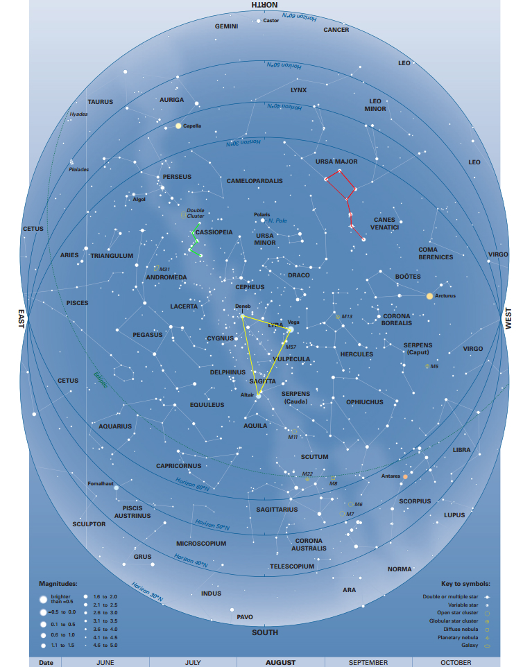 You can consult this map of the sky this August from the 9th edition of the Monthly Sky Guide. We've  highlighted a couple of easy-to-spot markers to help you find your way around the sky.