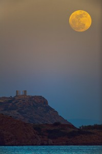 Full Moon over Sounion, photo by Anthony Ayiomamitis