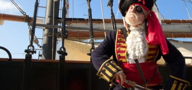 A man dressed as a pirate.