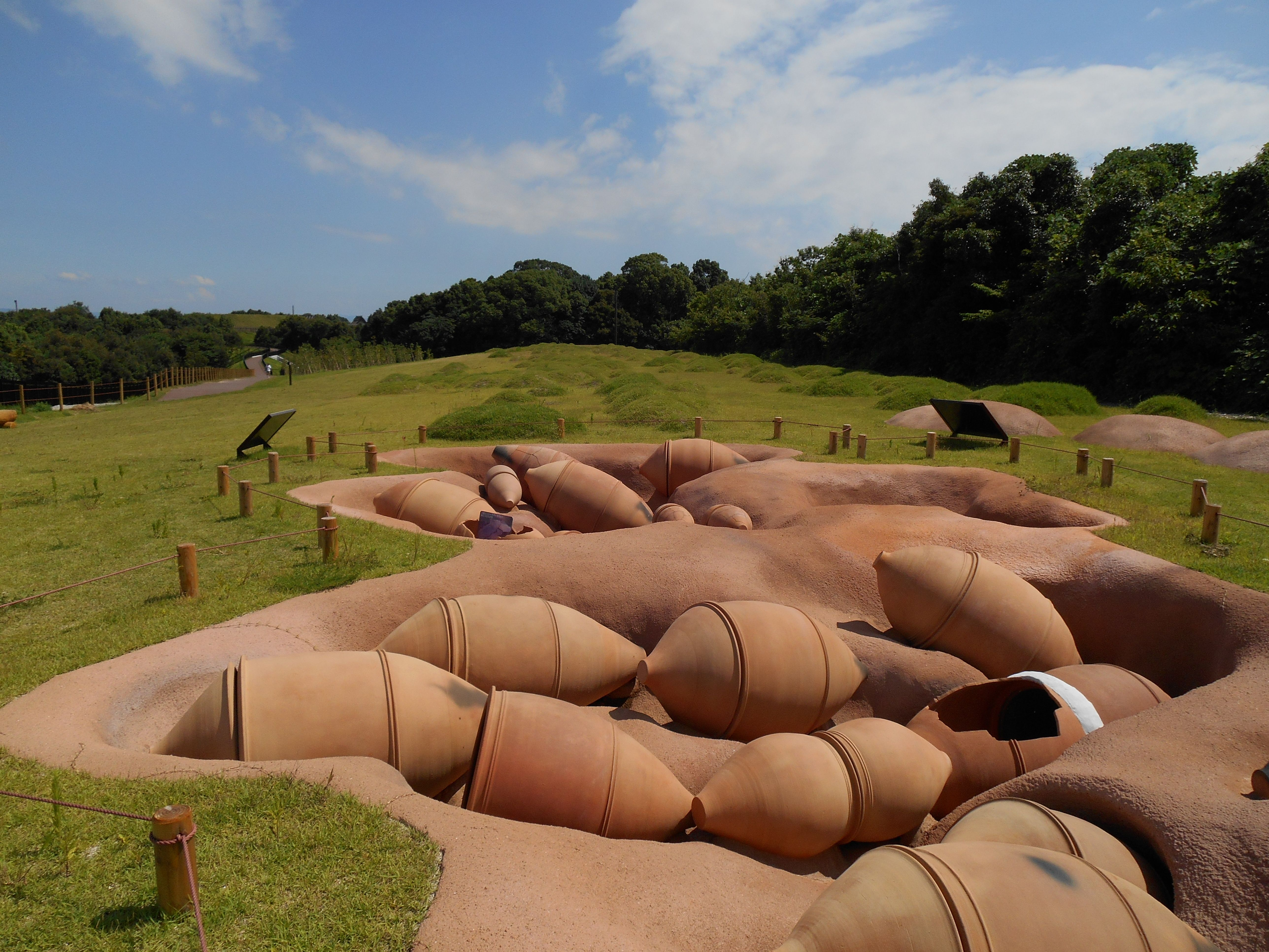 A reconstructed area of Yayoi Period cemetery at Yoshinogari site in Saga, Japan
