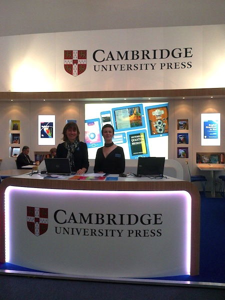Alison T (left) with Gemma Valpy on the Cambridge University Press stand, Frankfurt Book Fair 2013.