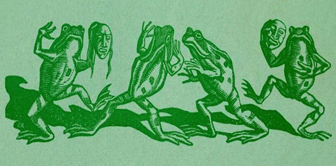 Woodcut of The Frogs from a 1936 programme.