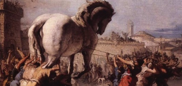 The Procession of the Trojan Horse in Troy - Giovanni Domenico Tiepolo, 1773. Public Domain.