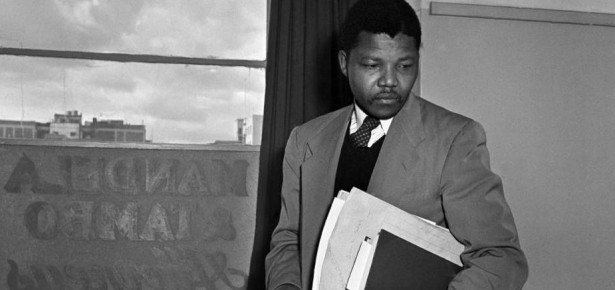 Nelson Mandela in his law office, 1952 a