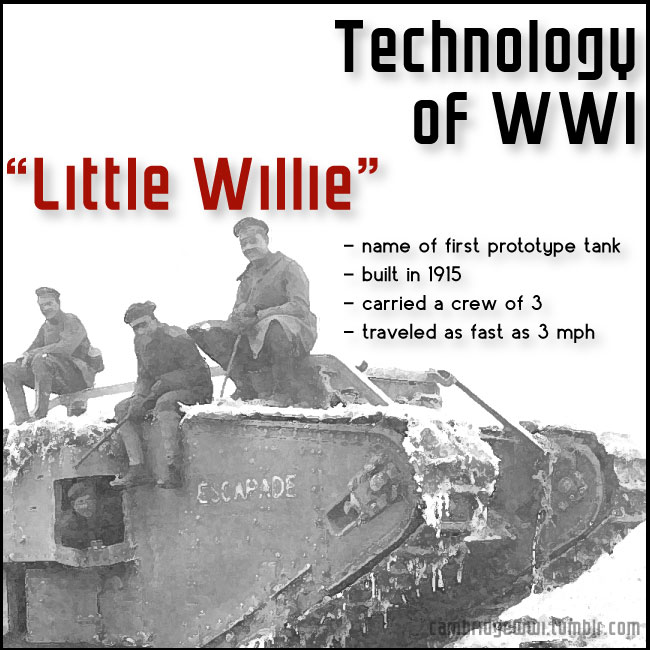 "The first prototype tank used in WWI was nicknamed ""Little Willie"""