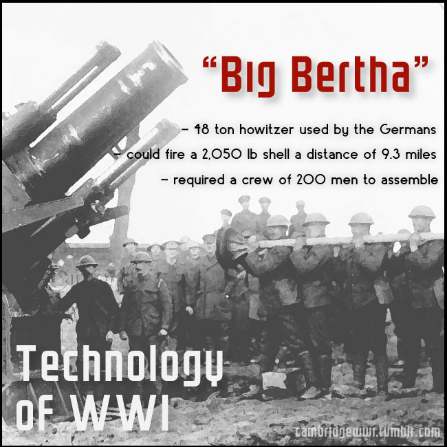 """Big Bertha"" was the Germans' 48 ton howitzer in WWI"