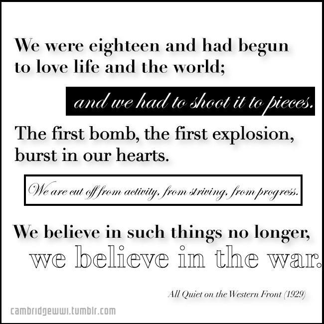 We believe in such things no longer, we believe in the war.