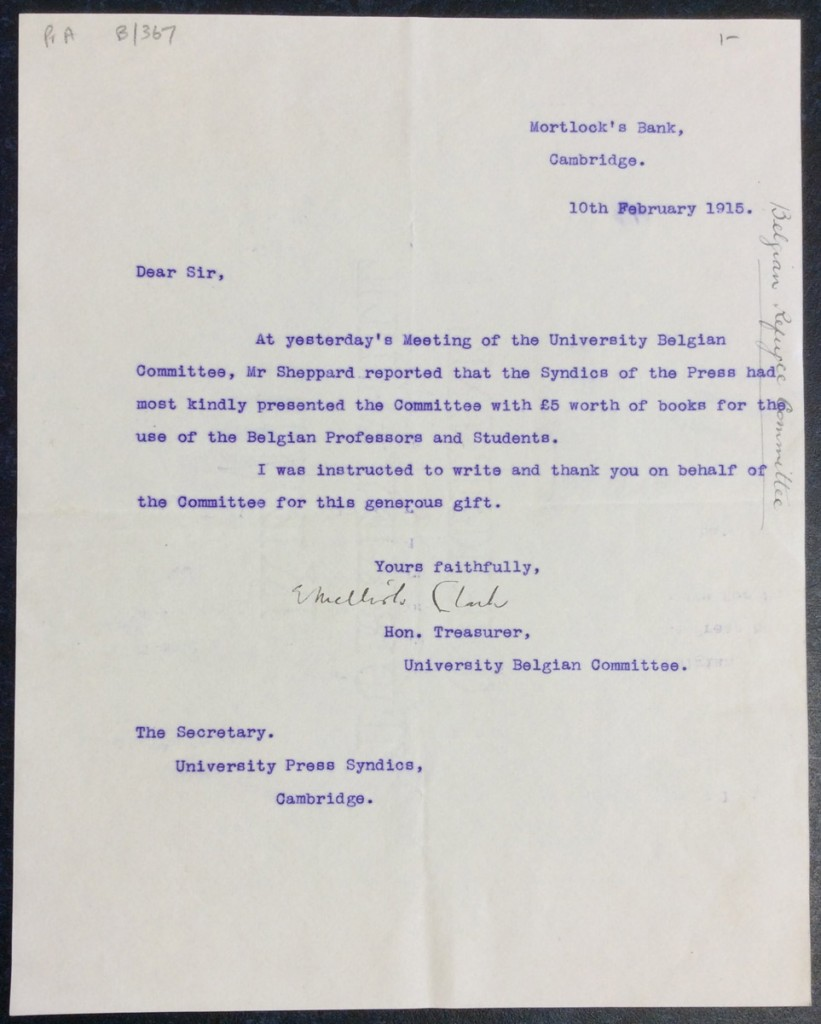 Letter dated 10th February 1915, from the Hon. Treasurer, University Belgian Committee. Original held at Cambridge University Library.