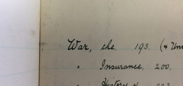 'War, the' - an entry in the Cambridge University Press Syndicate minutes announcing WWI