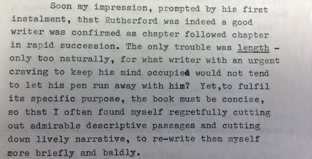 G. V. Carey comments on Lt-Col Rutherford's writing style. Original held at Cambridge University Library.