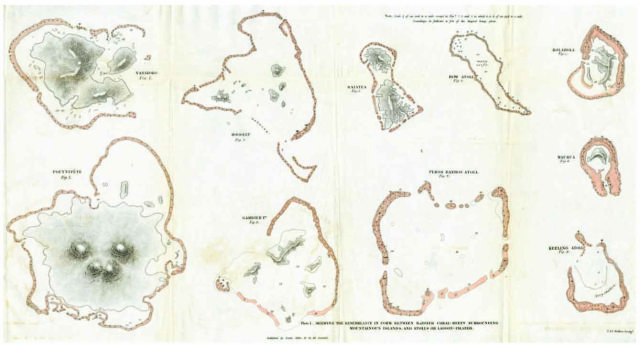 Coral atolls, from Darwin's 'The Structure and Distribution of Coral Reefs' (1842)
