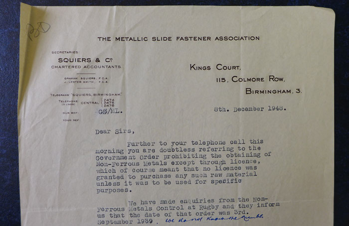 The Metallic Slide Fastener Association letter to Cambridge University Press in 1948.