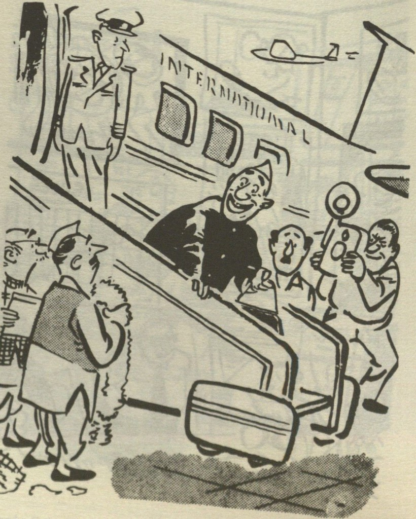 Pocket cartoon on politicians' penchant for air travel and foreign travel. Courtesy R. K. Laxman.