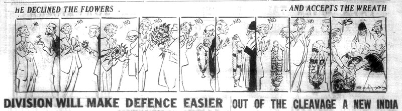 The author saw Laxman's cartoon in the Free Press Journal in the Library of Congress, DC .