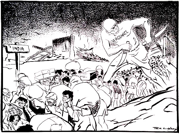 "R. K. Laxman's ""The fallout of Partition."" 1950. Courtesy Dharmendra Bhandari."