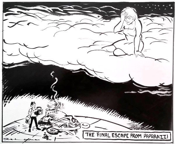 "R. K. Laxman's ""The final escape from paparazzi"" on Lady Di's tragic death. 1997. Courtesy Dharmendra Bandar."