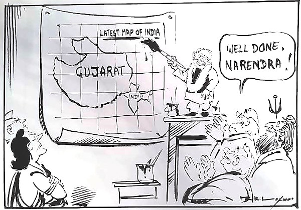 "R. K. Laxman, ""Modi's magic."" 2002. Courtesy Dharmendra Bhandari."