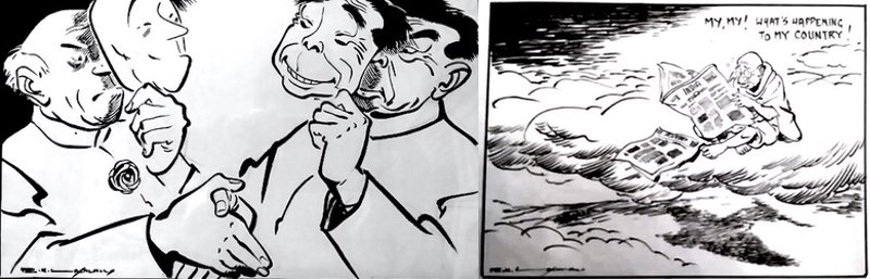 "Left: R. K. Laxman on the Sino-Indian conflict. Detail. 1960. Author's collection. Right: R. K. Laxman, ""Mahatma's dilemma"". This was one of President A. P. J. Kalam's favorite cartoons. 2002. Courtesy Dharmendra Bhandari."