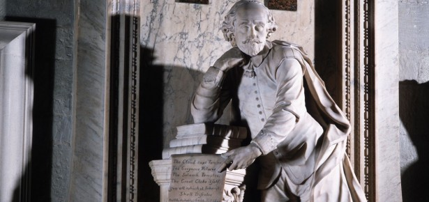 A 1740 monument to Shakespeare designed by William Kent and carved by Scheemaker in the south transept of Westminster Abbey.