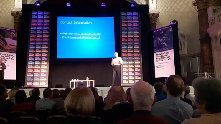 Kevin Warwick on stage at Cheltenham resize