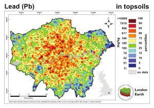 Fig 1 Soil lead pollution in London England