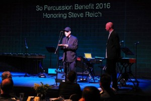 Steve Reich accepting the pulse 'piece of wood'