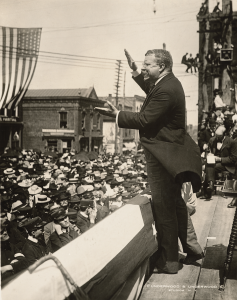 Theodore Roosevelt speaking in Asheville, NC, September 9, 1902. Source: Houghton Library, Harvard University, 560.51 1902-156.