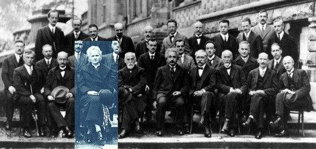 Marie Curie pictured as the only femail present at the Slovay Conference on Quantum Mechanics 1927