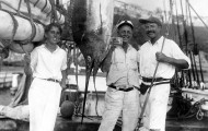 EH 1354P  Joe Russell and Ernest Hemingway with a marlin, Havana Harbor, 1932 (young man at left not identified). Photograph in the Ernest Hemingway Photograph Collection, John F. Kennedy Presidential Library and Museum, Boston.