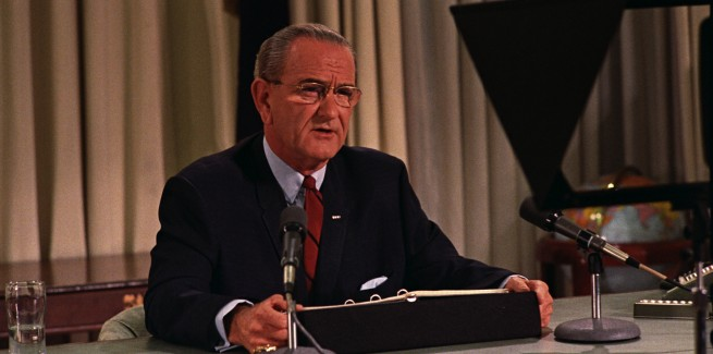Lyndon Johnson announcing is intention not to run for re-election