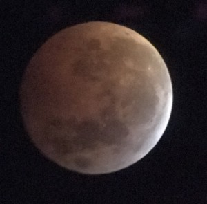 Photograph of a total lunar eclipse taken with using an iPhone and a 6-inch refracting telescope from Georgia, USA on January 20, 2019. Photo credit: Todd Timberlake.