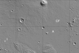 A portion of Elysium Planitia shows the location of the InSight lander (at I), while 1500 km to the east some of the fractures of Cerberus Fossae (CF) trend east-southeast. Athabasca Valles (A) originates at the fossae and flows down slope to the west-southwest (MOLA hillshade image, view about 1200 by 1800 km, north at top, 0°N to 20°N, 134°E to 164°E; created with JMARS/Arizona State Univ.)