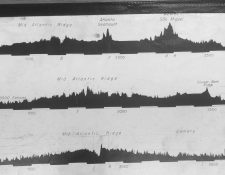 Marie Tharp's transatlantic profiles with her annotations of the Mid-Atlantic Ridge and its central valley. Acknowledgement: US Library of Congress. Simon Mitton.