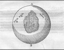 Gilbert's simple sketch of the magnetic effect of a loadstone in Earth's interior on a compass needle. From page 155 of De Re Magnete. (Simon Mitton)