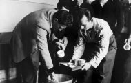 Hungarian refugees receiving food aid, 1956 Photo Credit: UNHRC