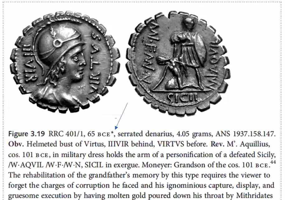 Image of a roman coin. ANS 1937.158.147. Obv. Helmeted bust of virtus, UUUVIR behind, VIRTVS before. Rev. M. Aquillius, cos. 101 BCE, in military dress holds the arm of a personification of a defeated sicily. Moneyer: Grandon of the cos. 101 BCE.