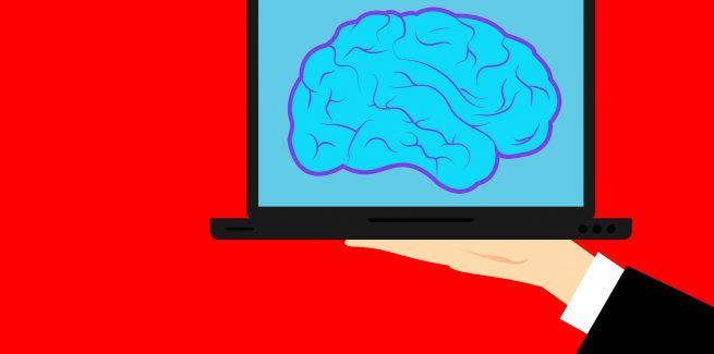 Brain inside of a laptop computer being held