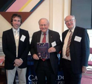 (L-R) Dr Iain Morley, Dr John Templeton (Templeton Foundation) and Lord Colin Renfrew with at the launch for The Archaeology of Measurement.