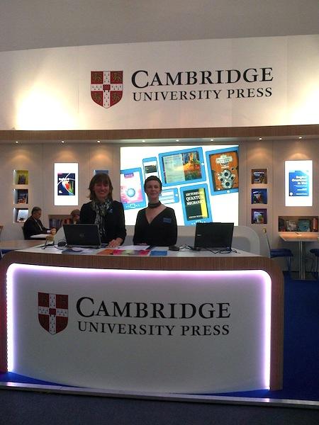 Alison T (left) with Gemma Valpy on the Cambridge University Press stand, Frankfurt Book Fair 2013.