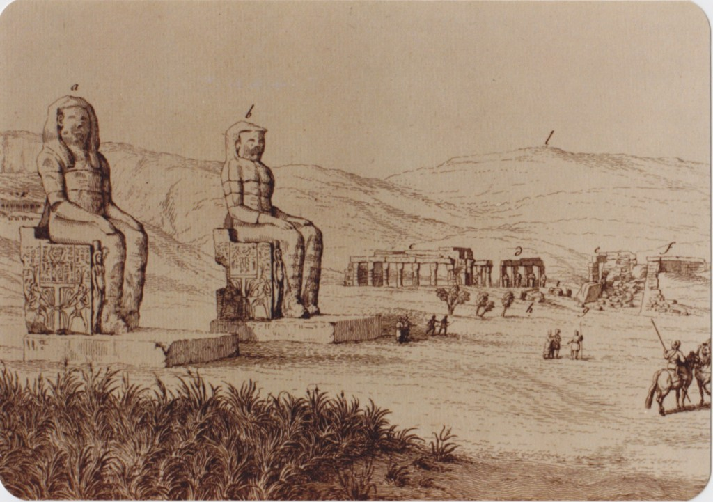 The so-called 'Colossi of Memnon' from 'Déscription de l'Egypte'.