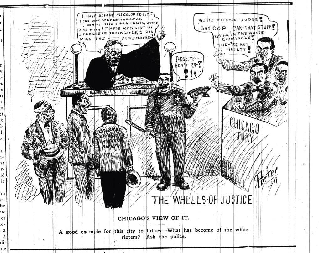 """Also published in the Washington Bee, this August 1919 cartoon denounced the decision of the Illinois state's attorney to only indict African Americans (many of whom had defended themselves against mob attacks) after Chicago's 1919 race riot. Evidence of white crimes against blacks collected by the NAACP led the grand jury in Chicago to go """"on strike"""" until the state's attorney presented cases against white defendants, an action also referenced by the cartoon."""