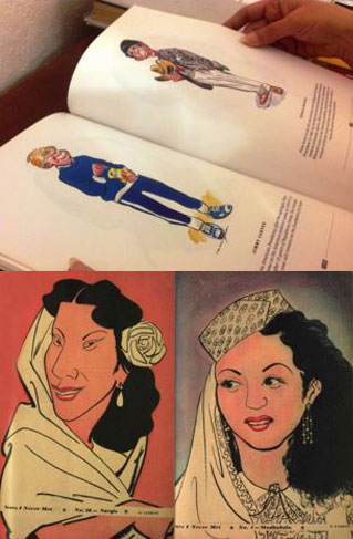 Top: Laxman's cartoons of US Presidents, and Bottom Left: Bollywood superstar, Nagris. Right: India's heart throb, Madhubala, both from 'Stars I Never Met' series (1952). Source: Film Archive of India.
