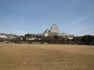 Himeji Castle in early 2018. The large open field below the keep contained Imperial Japanese Army barracks through the end of the Second World War. Photo by the author.